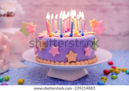 Delicious Birthday Cake On Table Light Background