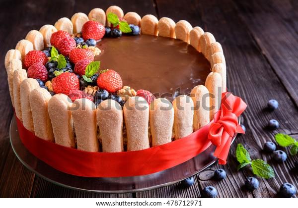 Amazing Delicious Birthday Cake Walnuts Filling Strawberries Stock Photo Funny Birthday Cards Online Amentibdeldamsfinfo