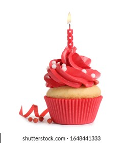 Delicious birthday cupcake with candle isolated on white