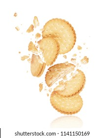 Delicious biscuits crushed into pieces close-up on a white background