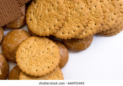 Delicious biscuits isolated on white background. Top view