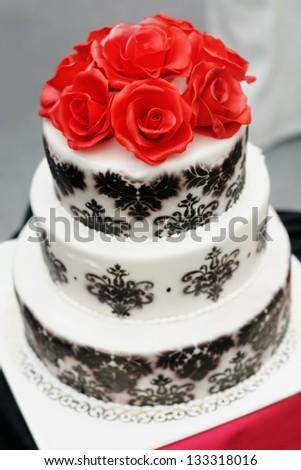 Delicious Black White Wedding Cake Decorated Stock Photo (Edit Now ...