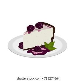 Delicious blackberry cheesecake on plate. Tasty dessert.
