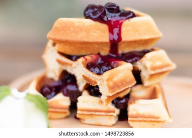 delicious blue berry waffle with white cream