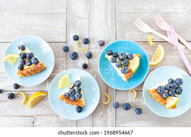 Delicious blueberry cake with fresh lemon zest