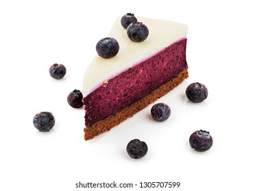 Delicious blueberry cheesecake on white background