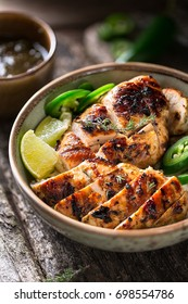 delicious bowl of grilled Jerk Chicken, jamaican food