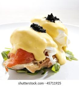 delicious breakfast, egg benedict with smoked salmon