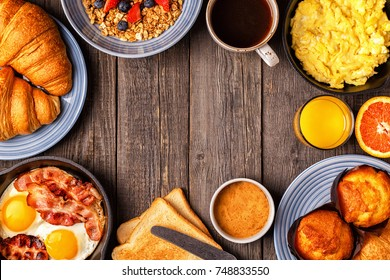Delicious breakfast on a rustic table. Top view, copy space.