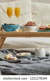 Delicious breakfast served in bed on tray