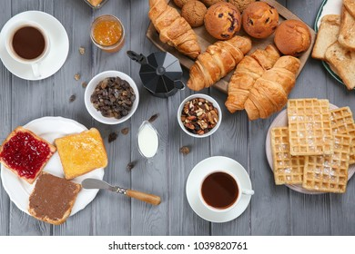 Delicious breakfast served on table