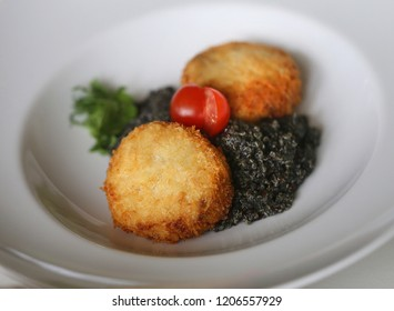 Delicious bright macro photo of fish cutlets with quinoa in a restaurant