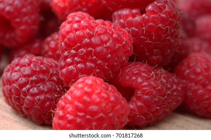 Delicious bright raspberry close up
