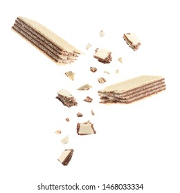 Delicious broken sweet wafer on white background