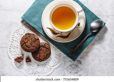 Delicious brown chocolate chips cookies for tea time