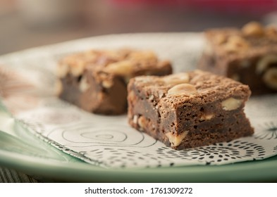 Delicious brownies on a plate