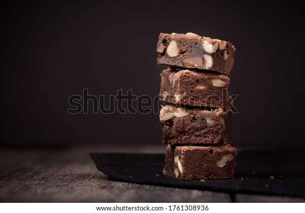 Delicious brownies stacked on top of each other
