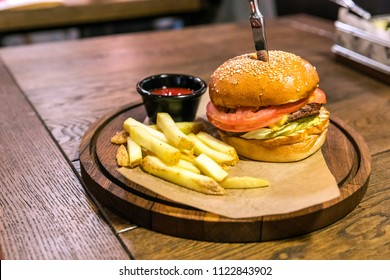 Delicious burger with beef tomato cheese and lettuce