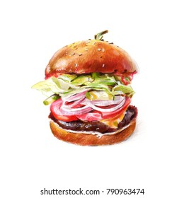 Delicious burger with chop, cheese, tomato, onion, pickled cucumber, salad and sauce. Watercolor and colour pencils illustration