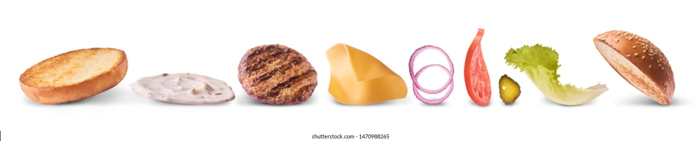 Delicious burger  ingredients isolated on white background. High resolution image