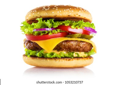 Delicious burger, isolated on white background