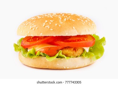 A delicious burger with a juicy cutlet on a white background.