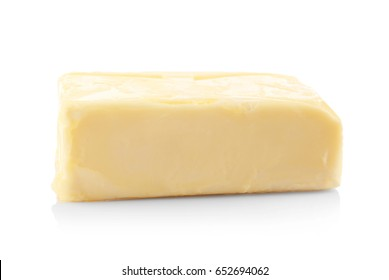 Delicious butter piece on white background, closeup