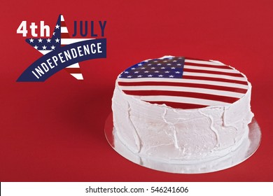 Delicious cake with American flag decor on red background. Text 4TH JULY INDEPENDENCE