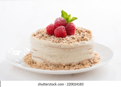 delicious cake with custard and raspberry, close-up, horizontal