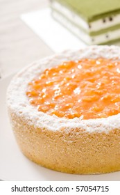 Delicious cake! Fresh and healthy! Ingredients: jam, lemon, butter, berries, cheese, green tea, red beans, oranges