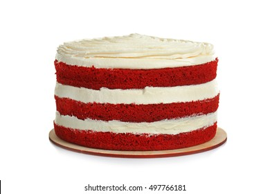 Delicious cake on white background