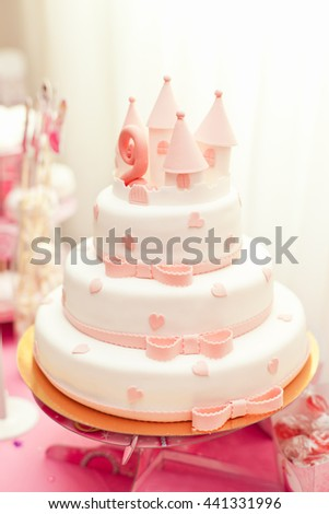 Delicious Cake In Style Of Castle For Little Princess Her Second Birthday