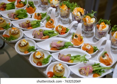 Delicious canapes platter food