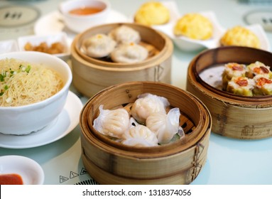 Delicious Cantonese Dim Sum on the Table, Tasty Chinese Food, Hong Kong Afternoon Tea, Canton Guangzhou Shenzhen, Dumpling, Har Gow, BBQ Pork Bun Char Siu, Rice Noodle Rolls