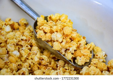 Delicious caramel coated popcorn, top​ view​
