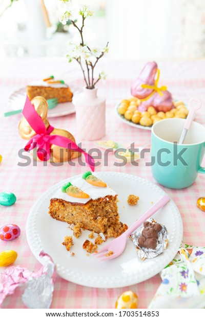 Delicious carrot cake and sweets for easter