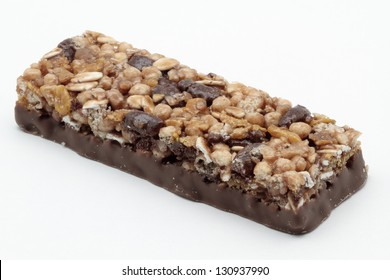 delicious cereal bar on white background