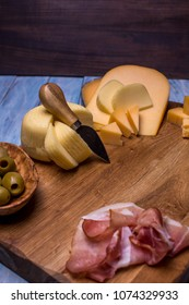 Delicious cheese on the table. cheese board