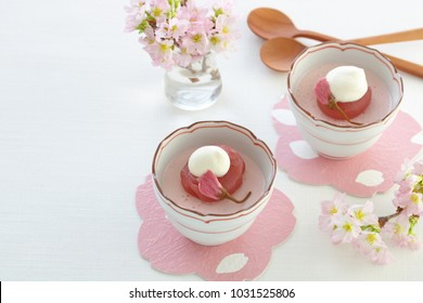 Delicious cherry blossom mousse dessert with cherry blossom flavored beam paste