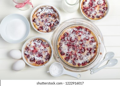Delicious cherry clafoutis - French milk cake with ingredients