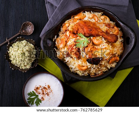 Delicious chicken biryani top view