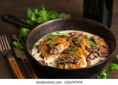 Delicious chicken Marsala on frying pan