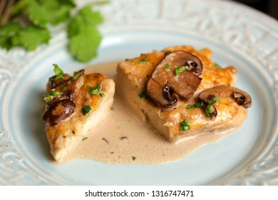 Delicious chicken Marsala on plate