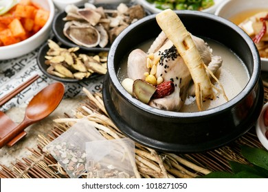 Delicious chicken soup with ginseng in a bowl