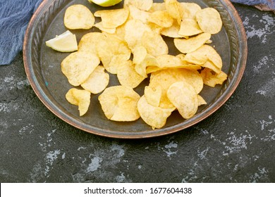 Delicious chips on the plate