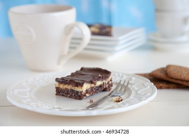 Delicious chocolate bar with custard and coconut