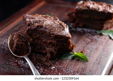 Delicious chocolate brownie with a spoon