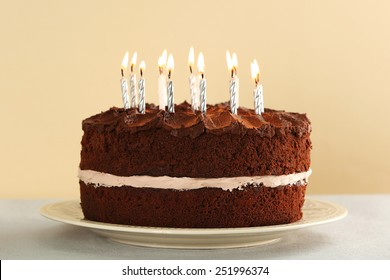 Birthday Chocolate Cake Candle Images Stock Photos Vectors
