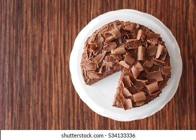 Delicious chocolate cake, top view
