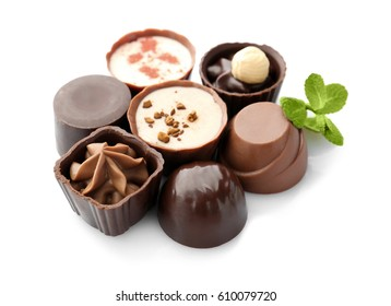 Delicious chocolate candies, isolated on white